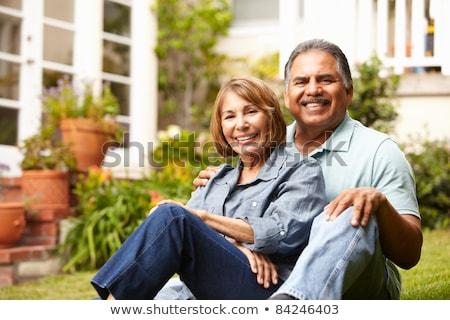 Foto stock: Senior · hispânico · casal · fora · casa · homem