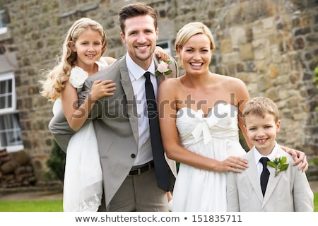 Vőlegény koszorúslány oldal fiú esküvő boldog Stock fotó © monkey_business
