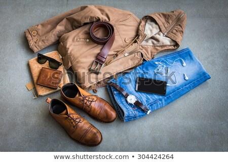 karikatür · adam · kahverengi · ceket · ayakta · heyecanla - stok fotoğraf © zebra-finch