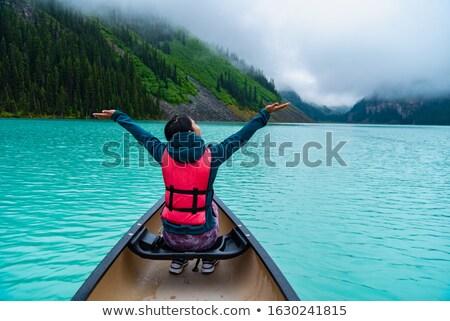 canoa · lago · montanha · esportes · verão · azul - foto stock © quasarphoto