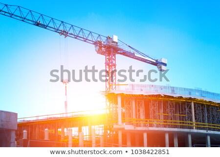 建設現場 クレーン 曇った 空 フレーム 青 ストックフォト © gavran333