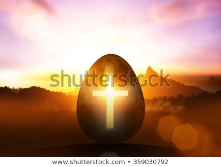 Пасху · золотые · яйца · украшенный · шоколадом - Сток-фото © enlife