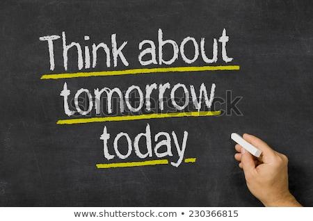 ストックフォト: 黒板 · 文字 · と思います · 明日 · 今日 · お金