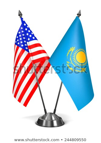 EUA Cazaquistão miniatura bandeiras isolado branco Foto stock © tashatuvango