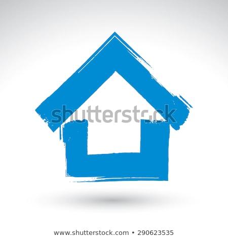 Hand borstel tekening huis witte boom Stockfoto © fantazista
