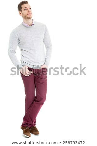 Full-length portrait of a pensive businessman standing with blue folder over white background Stock photo © deandrobot