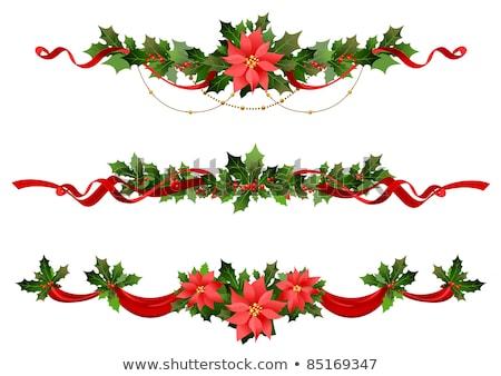 karácsony · keret · szalagok · elegáns · fenyőfa · kép - stock fotó © irisangel