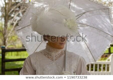 giovani · signora · bianco · Hat · abito · donna - foto d'archivio © maros_b