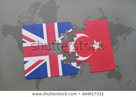Egyesült Királyság Törökország zászlók puzzle izolált fehér Stock fotó © Istanbul2009