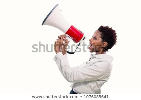 mulher · megafone · retrato · zangado · alto - foto stock © hasloo