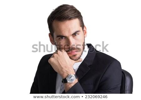 Vrolijk zakenman poseren hand kin witte Stockfoto © wavebreak_media