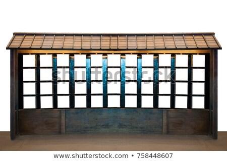Blanco puerta marrón pared piso de madera Foto stock © teerawit