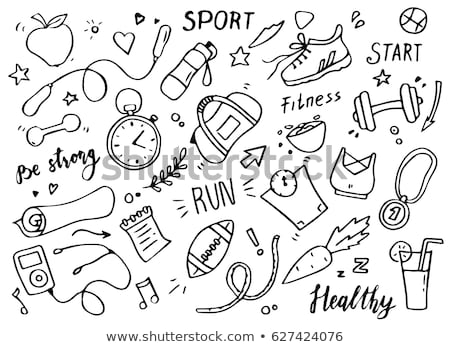 dumbbell and hand draw sport icon Stock photo © netkov1