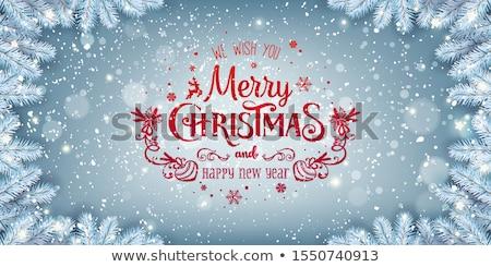 Stockfoto: Vrolijk · christmas · Blauw · ontwerp · sneeuwvlokken