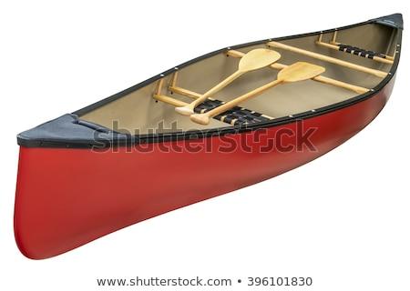 Rouge tandem canot isolé bois blanche Photo stock © PixelsAway