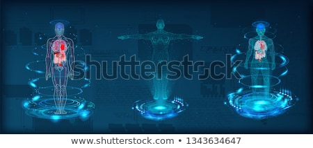 3D male medical figure on abstract DNA background Stock photo © kjpargeter