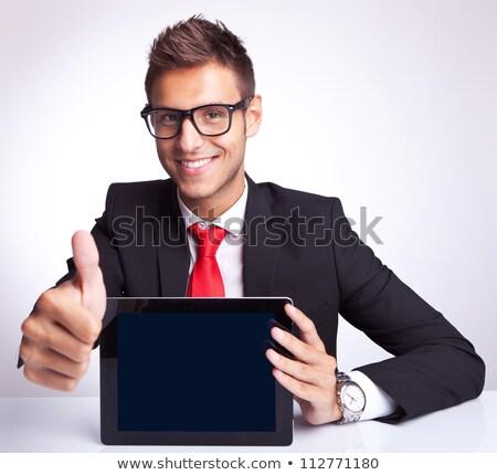 boldog · fiatal · üzletember · tart · tabletta · néz - stock fotó © feedough