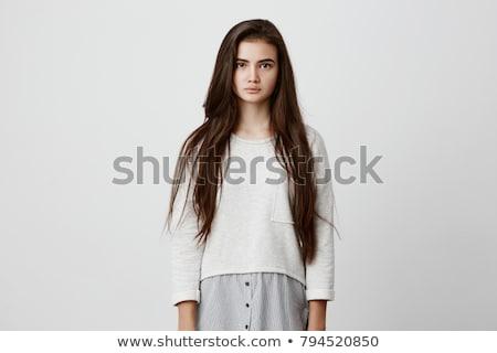 Zamyślony młoda kobieta piękna długo ciemne włosy portret Zdjęcia stock © deandrobot