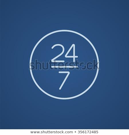abrir · 24 · 7 · dias · assinar · linha · ícone - foto stock © rastudio