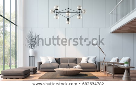 Stock photo: Modern living room in minimalistic style with sofa