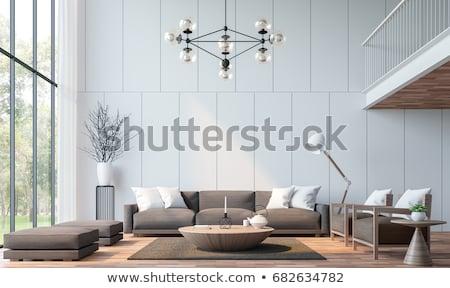 amarillo · sofá · blanco · pared · diseno · interior · espacio · de · la · copia - foto stock © kzenon