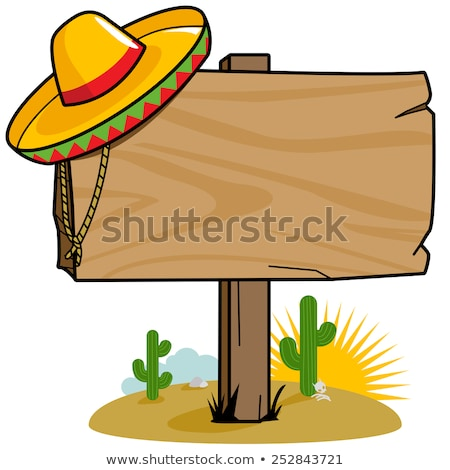 Cactus sombrero deserto illustrazione panorama divertente Foto d'archivio © adrenalina