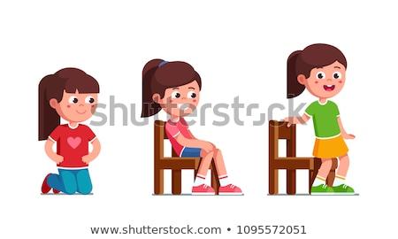 Little girl sitting on stool Stock photo © bluering
