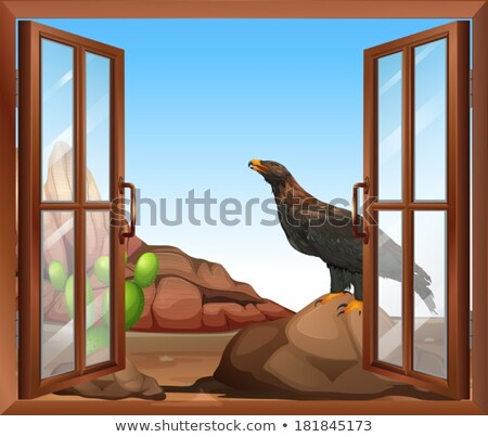 An open window with a view of the bird above the rock Stock photo © bluering