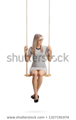 donna · seduta · swing · erba · divertimento · ritratto - foto d'archivio © konradbak