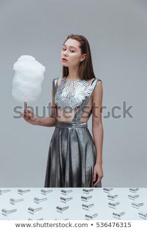Belle femme haut vintage rasoir belle Photo stock © deandrobot