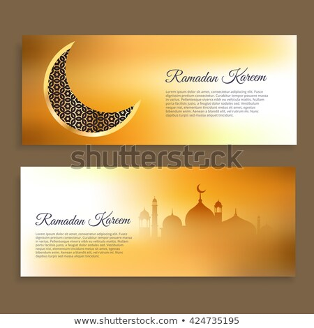 ramadan kareem and wid banners in golden colors Stock photo © SArts