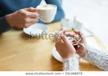 kobieta · herbaty · czajniczek · vintage · drewniany · stół - zdjęcia stock © frimufilms