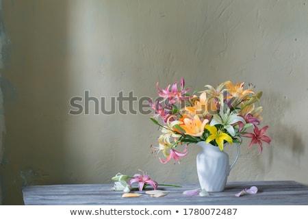 желтый белый ваза черный цветок Сток-фото © mady70