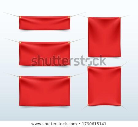 Realista vermelho têxtil banners projeto fundo Foto stock © Mediaseller