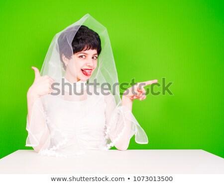 Kaukasisch verloofde wijzend kant witte jurk jonge Stockfoto © RAStudio