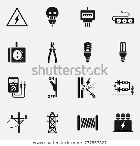 Elektromos ikon hosszú árnyék terv felirat Stock fotó © biv