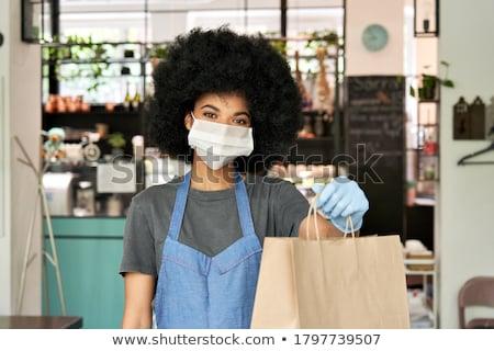 Kelner celu Licznik zewnątrz Kafejka Zdjęcia stock © wavebreak_media