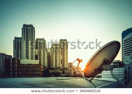 satellite tv with sunset sky stock photo © rufous