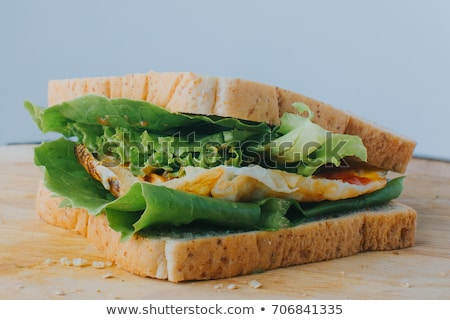 ストックフォト: 全粒小麦 · サンドイッチ · パン · ローフ · 木材