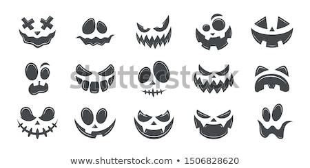 Stock photo:  Scary Halloween ghost or pumpkin face vector design, monster mouth icon with spooky eyes, nose and