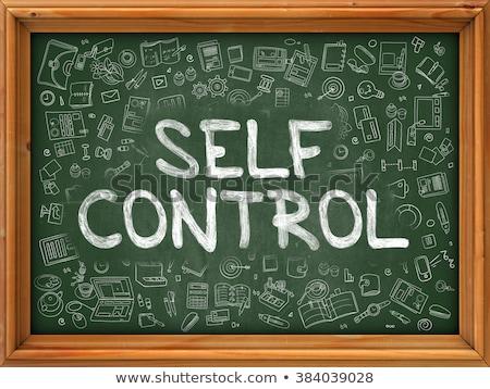 Self Control Concept. Green Chalkboard with Doodle Icons. Stock photo © tashatuvango