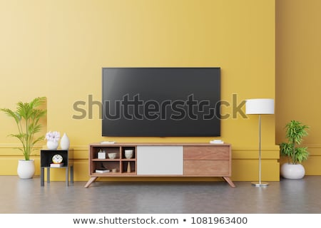Photo stock: 3d Interior Rendering Of Modern Living Room With Tv And Lamp