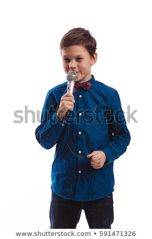 genç · kafkas · beyaz · adam · şarkı · söyleme · karaoke · mutlu - stok fotoğraf © rastudio