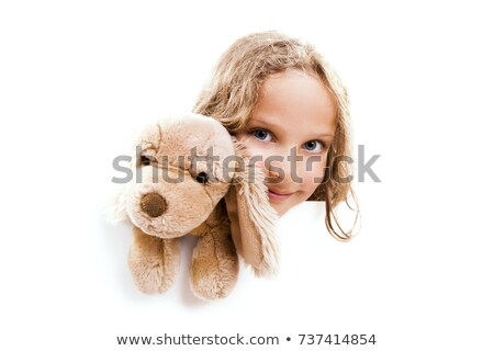Girl with Cuddly Dog Banner Stock photo © FOTOYOU
