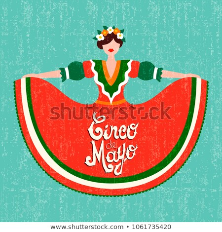 Cinco de Mayo lettering text and woman greeting card Stock photo © orensila