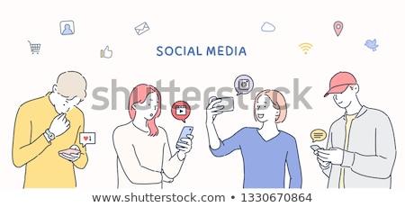 microblogging concept with doodle design icons stock photo © tashatuvango