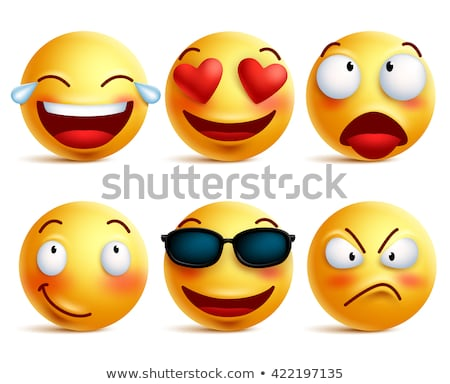 Smiley face emoji or yellow emoticons in glossy 3D realistic isolated in white background, vector il Stock photo © ikopylov