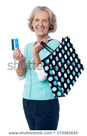 Stock fotó: Idős · nő · bevásárlótáskák · hitelkártya · boldog · idős · nő