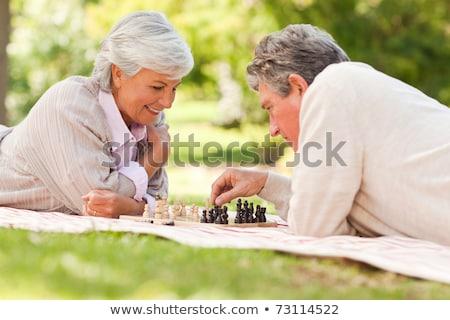 Pareja · jugando · ajedrez · parque · mujer · familia - foto stock © is2
