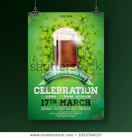 Saint Patrick's Day Party Flyer Illustration with Fresh Dark Beer and Clover on Green Background. Ve Stock photo © articular